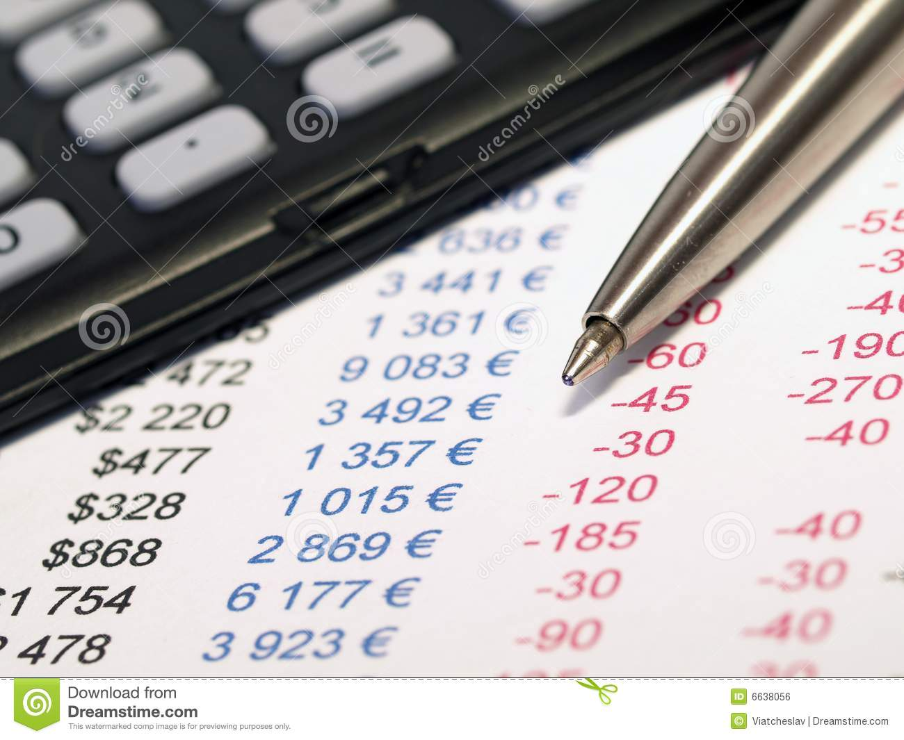 With pen and calculator. Balance sheet clipart