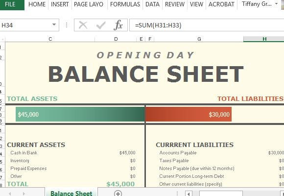 Balance sheet clipart image library Opening Day Balance Sheet For Excel image library