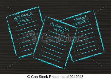Balance sheet clipart graphic transparent download Drawing of business documents: balance sheet, business plan ... graphic transparent download