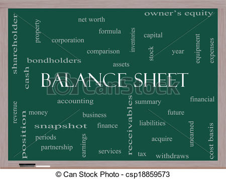 Balance sheet clipart clipart black and white stock Stock Illustrations of Balance Sheet Word Cloud Concept on a ... clipart black and white stock