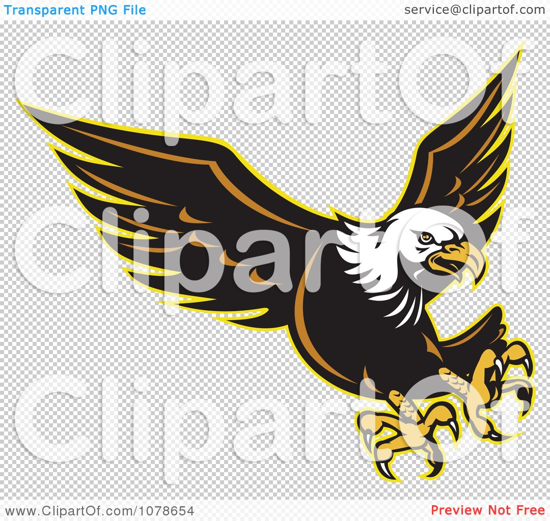 Clipart Retro Attacking Bald Eagle Logo - Royalty Free Vector ... vector transparent download