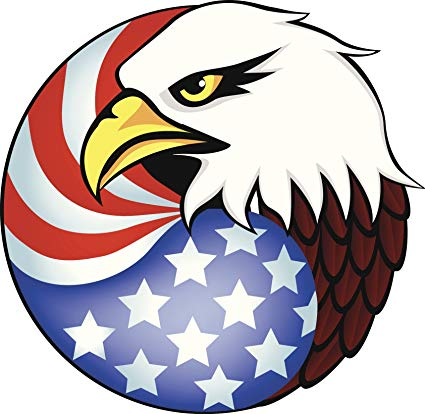 Bald eagle clipart with american flag banner freeuse stock Amazon.com: Political Majestic American Flag And Bald Eagle Cartoon ... banner freeuse stock