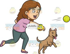 Ball dog clipart jpg transparent stock A Woman Throwing A Ball For Her Dog jpg transparent stock