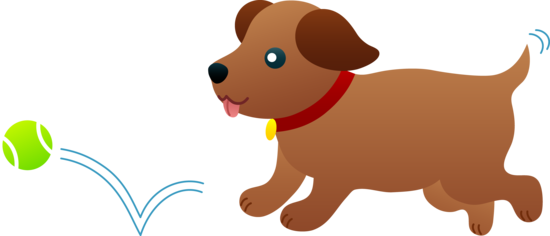 Ball dog clipart banner free stock Free clip art of a cute brown puppy chasing after a tennis ball ... banner free stock