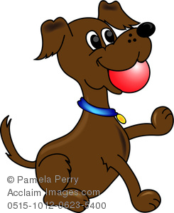 Ball dog clipart clip black and white Clip Art Image of a Cartoon Dog With a Ball in His Mouth clip black and white