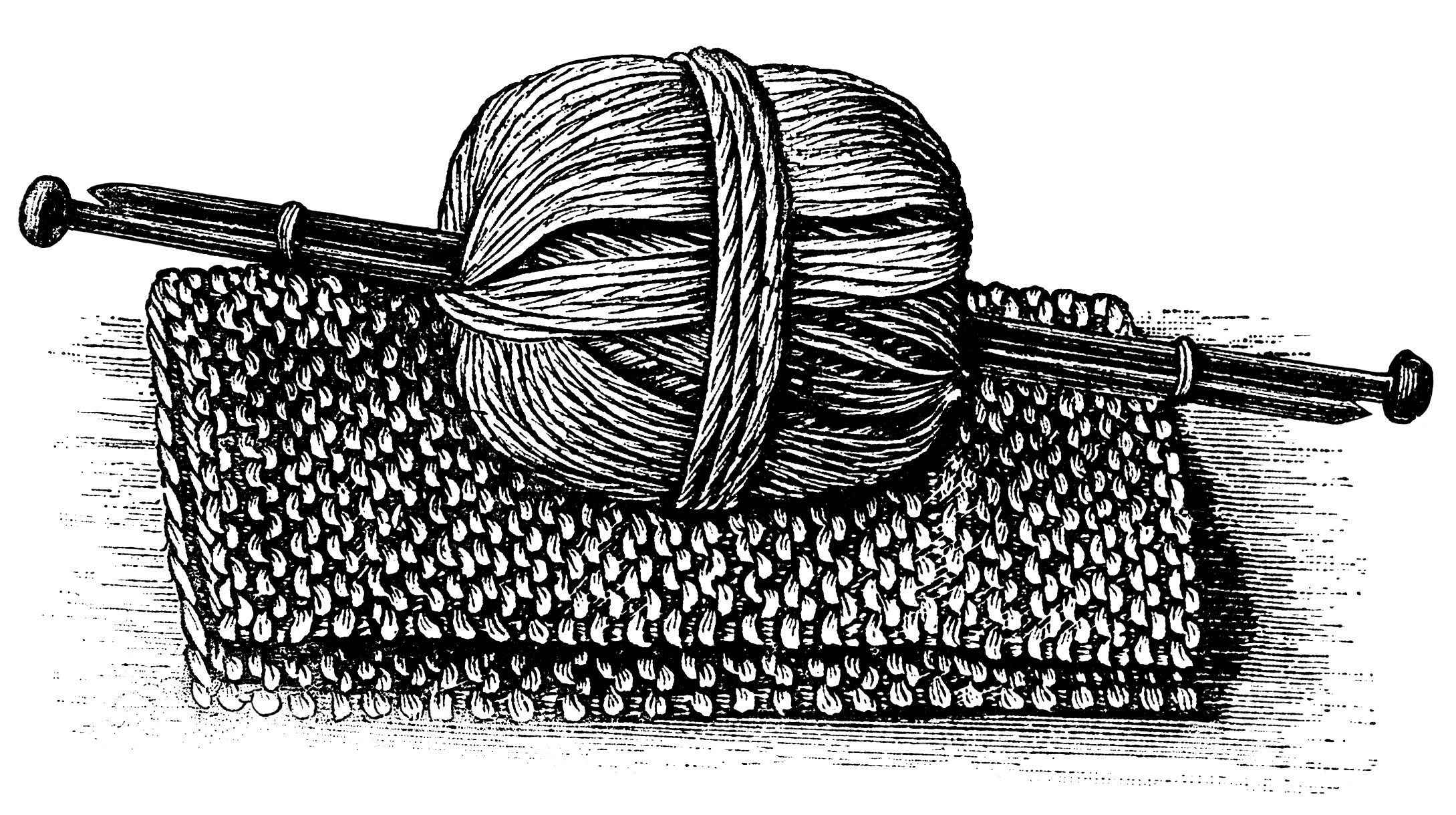 Ball of yarn black and white clipart freeuse library black and white graphics, vintage knitting clipart, ball of yarn ... freeuse library