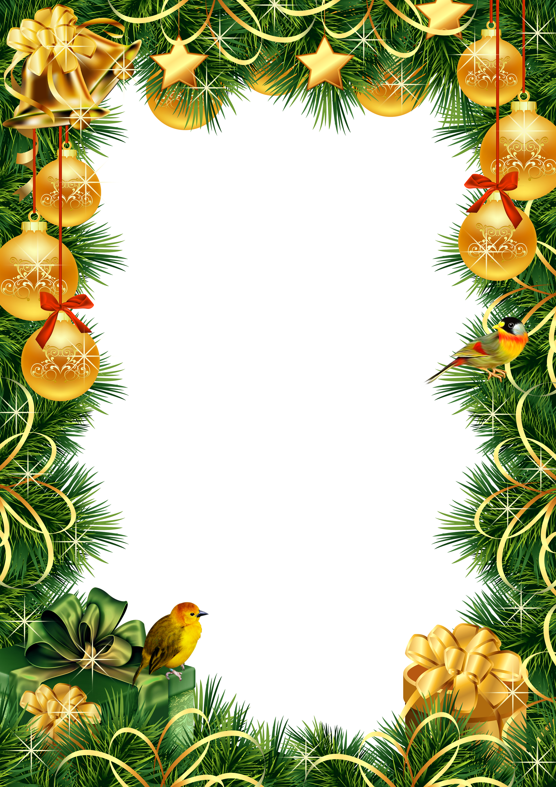 Ball ornament picture frame clipart jpg library library Christmas photo frame with ornaments and pine | Clip Art Holiday ... jpg library library