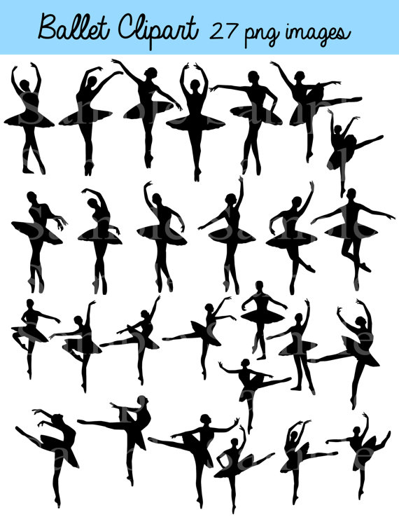 Ballerina silhouette commercial clipart jpg royalty free library Ballet Silhouette Digital Clipart , INSTANT DOWNLOAD Silhouette ... jpg royalty free library