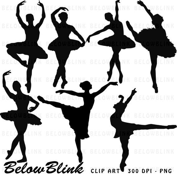 Ballerina silhouette commercial clipart clip art freeuse Ballerina Silhouettes Clipart Clip Art Digital Scrapbooking ... clip art freeuse
