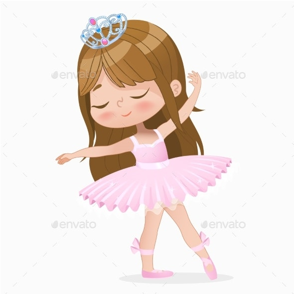 Ballerina with brown hair clipart jpg black and white stock Brown Hair Girl Ballerina jpg black and white stock