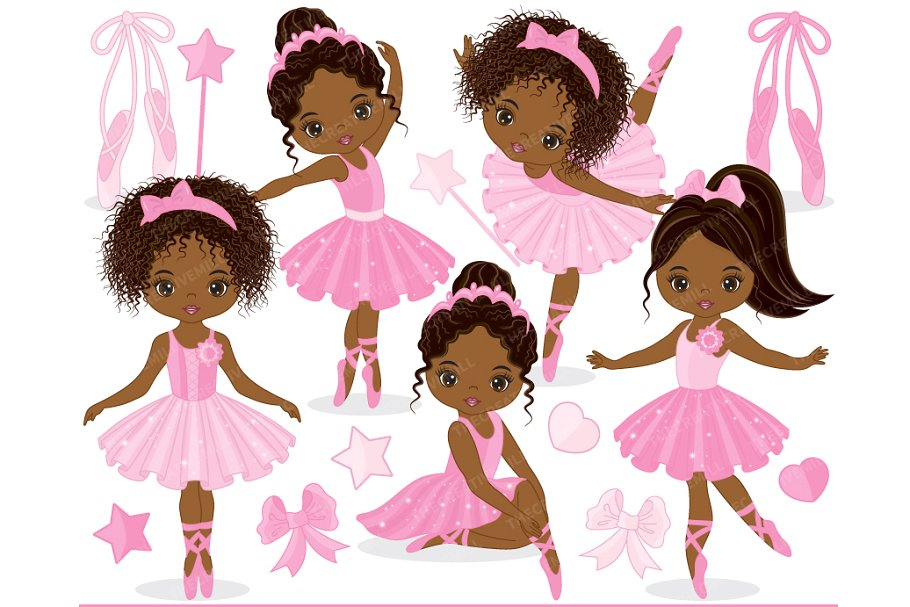 Ballerina with brown hair clipart jpg library download Vector Ballerina Clipart ~ Illustrations ~ Creative Market jpg library download
