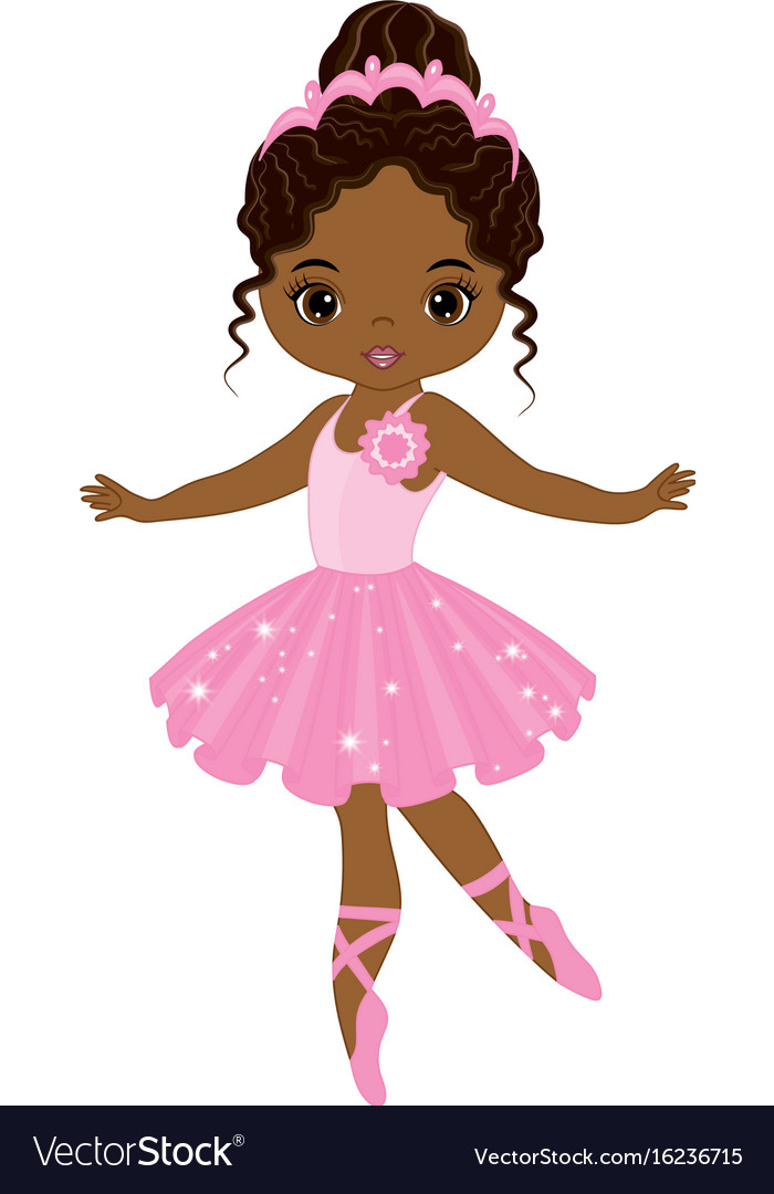 Ballerina with brown hair clipart image library Cute little african american ballerina vector image image library