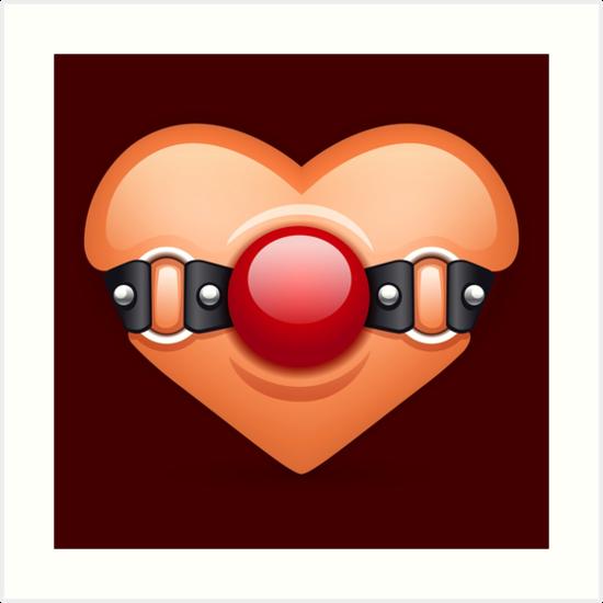 Ballgag clipart jpg transparent download \'Valentine Ball Gag Herz\' Kunstdruck von thetshirtstore jpg transparent download