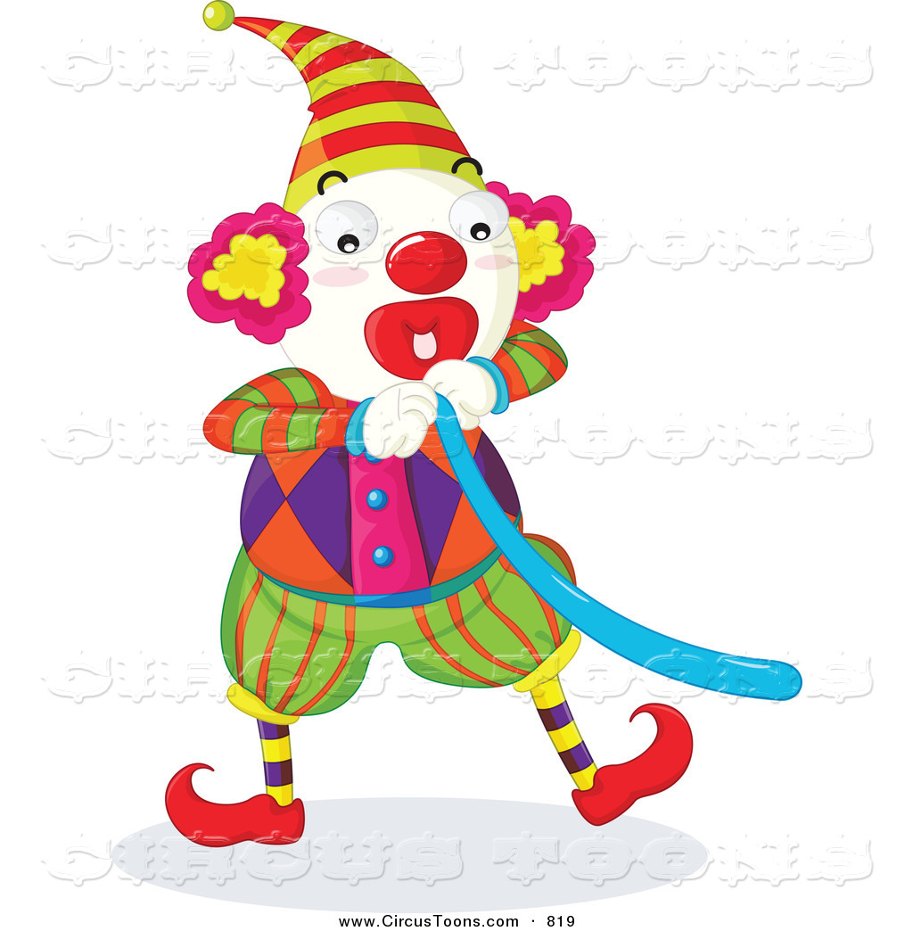 Balloon animal clown clipart vector free stock Circus Clipart of a Circus Clown Blowing up a Blue Balloon by ... vector free stock