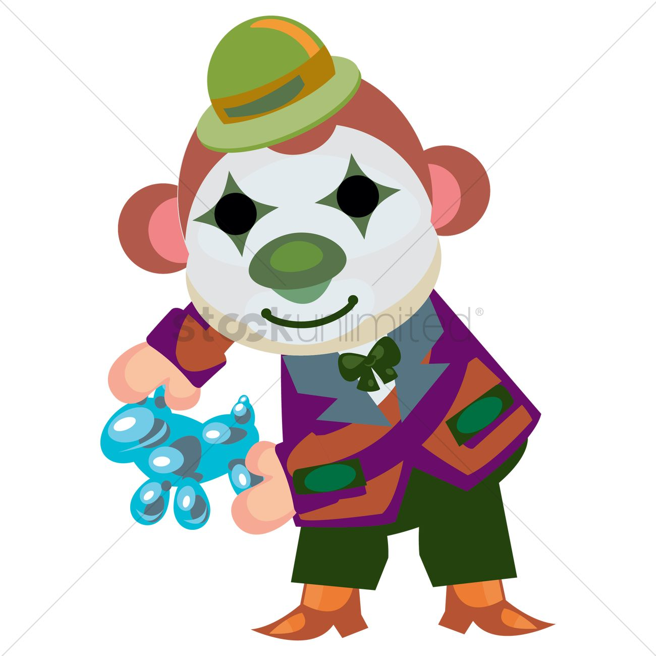 Balloon animal clown clipart banner transparent download Circus monkey with clown face paint making balloon animals Vector ... banner transparent download