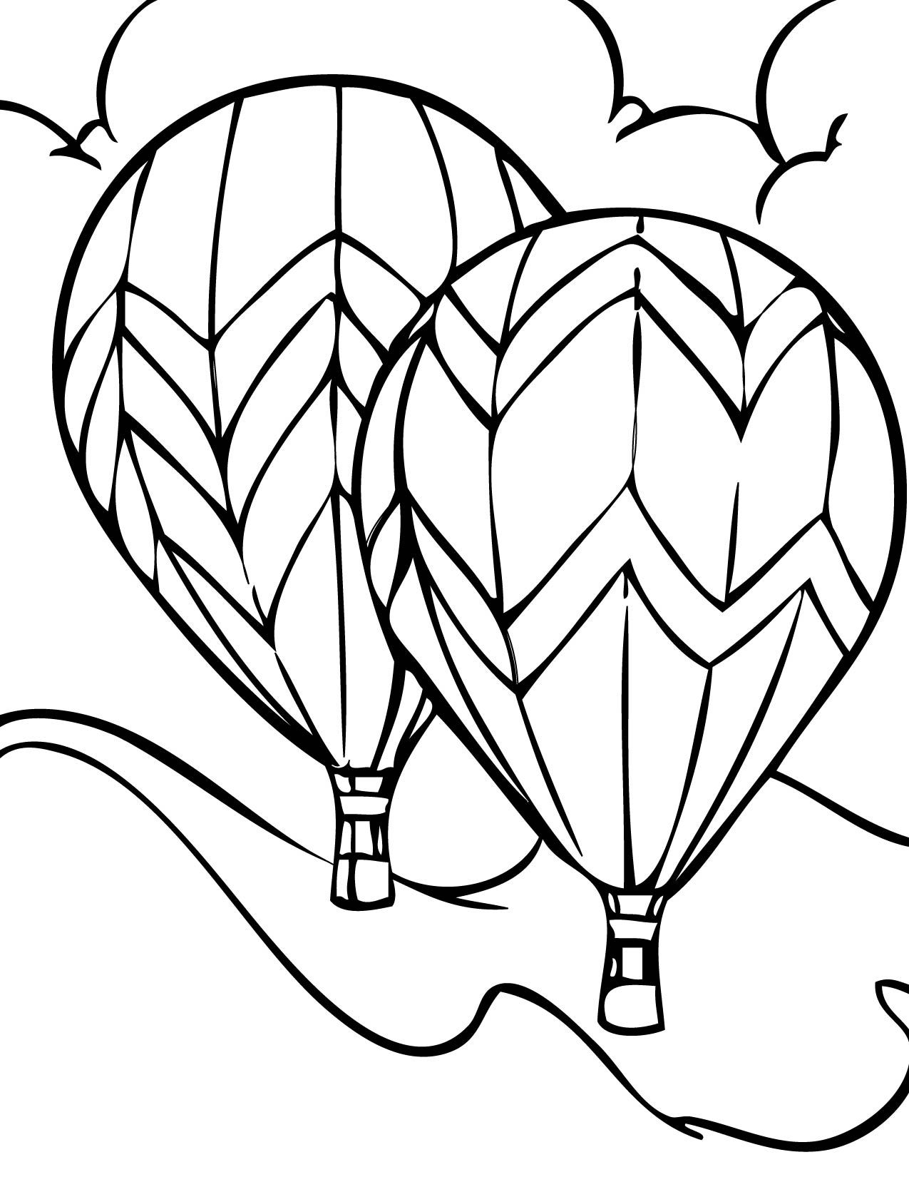 Balloon clipart coloring book banner black and white stock Free Printable Hot Air Balloon Coloring Pages For Kids | Free ... banner black and white stock