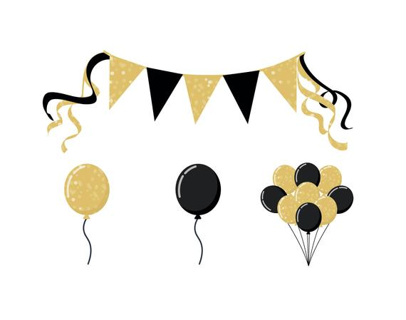 Balloon clipart icon vector free download PARTY BALLOON CLIPART - glittery gold party icons | Products in 2019 ... vector free download