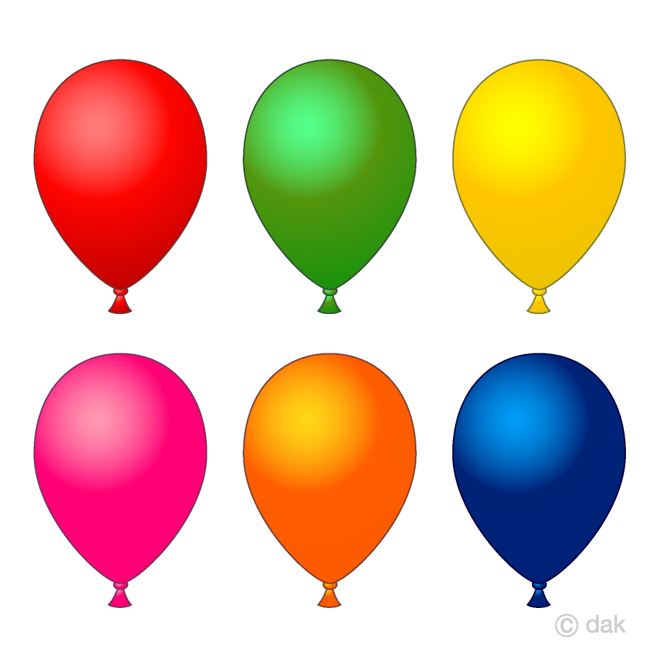 Clipart of balloons clipart free stock 6 color balloons Clipart Free Picture|Illustoon clipart free stock