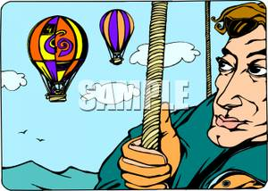 Balloon race clipart clipart freeuse library A Colorful Cartoon of a Hot Air Balloon Race with a Man In a Balloon ... clipart freeuse library