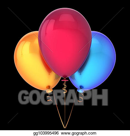 Clipart - Balloons 3 three orange red blue happy birthday party ... png royalty free