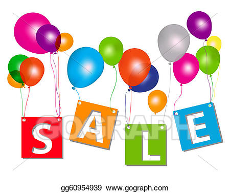 Balloons for sale clipart image transparent download Vector Stock - Balloons with sale letters. concept of discount ... image transparent download