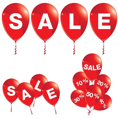 Balloons for sale clipart vector free stock Red Balloons With Sale Balloons Sale premium clipart - ClipartLogo.com vector free stock