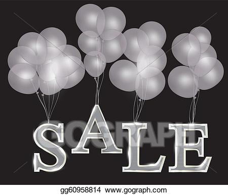 Balloons for sale clipart png black and white download Vector Stock - Balloons with sale letters. concept of discount ... png black and white download
