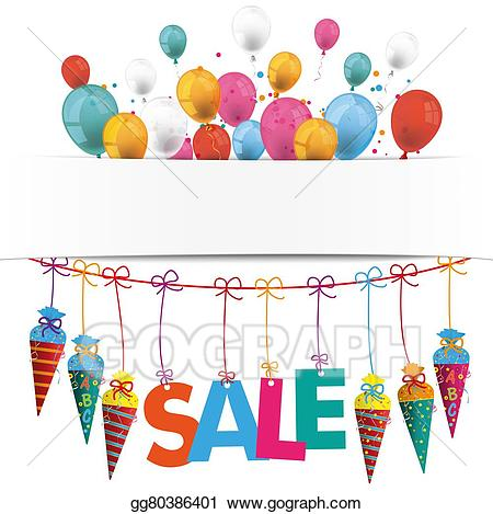 Balloons for sale clipart image royalty free library Stock Illustration - Candy cones banner balloons sale. Clipart ... image royalty free library