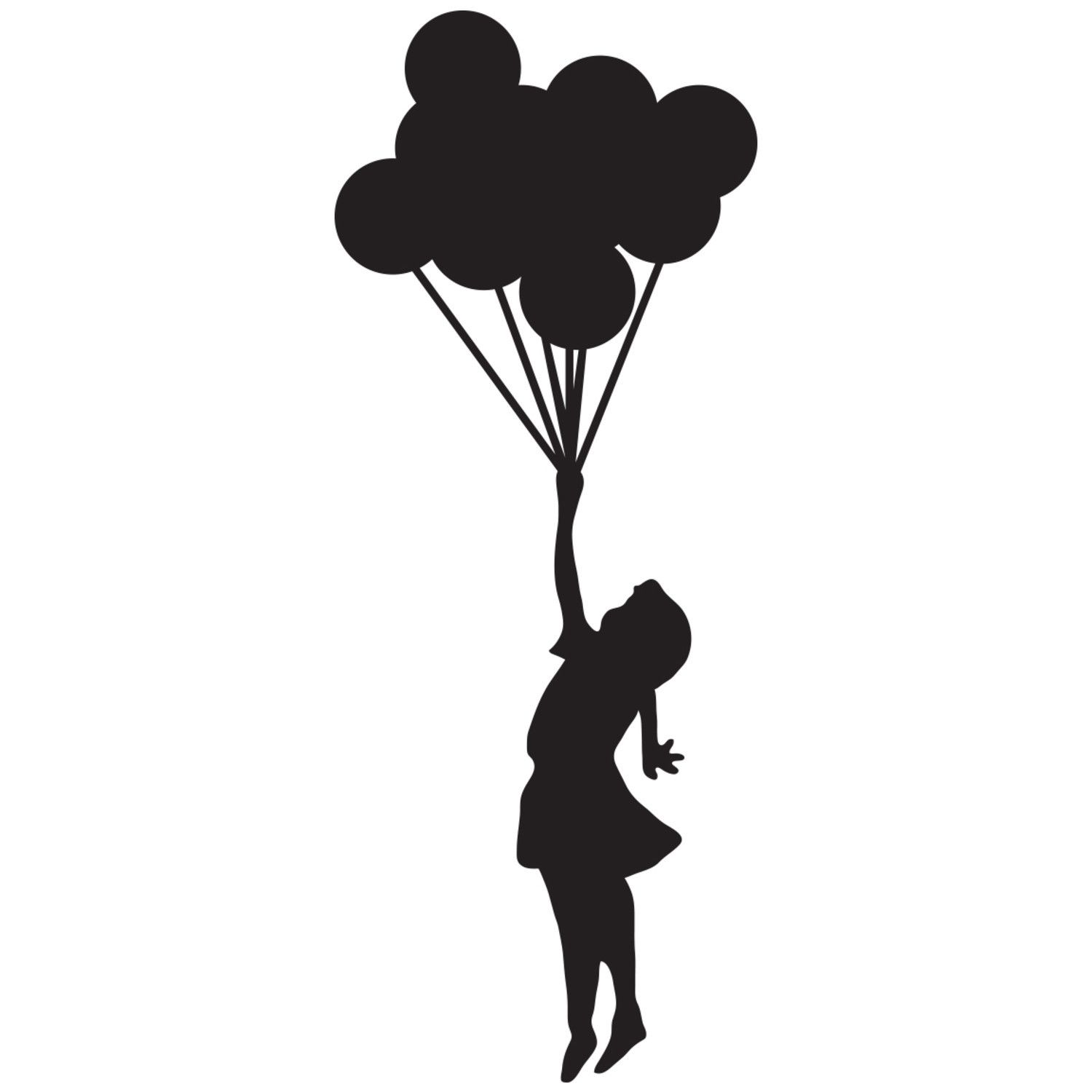 Umbrella and Silhouettes | girl holding balloons silhouette Car ... clip royalty free