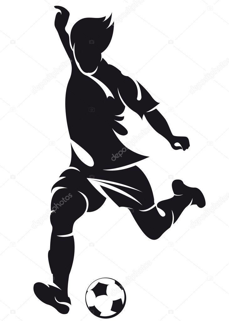 Balon de futbol rusia 2018 clipart jpg library download Silueta de jugador de fútbol (soccer) vector con balón aislado sobre ... jpg library download