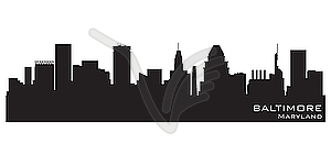 Baltimore skyline clipart clip art free stock Baltimore, Maryland skyline. Detailed silhouette - vector clipart clip art free stock