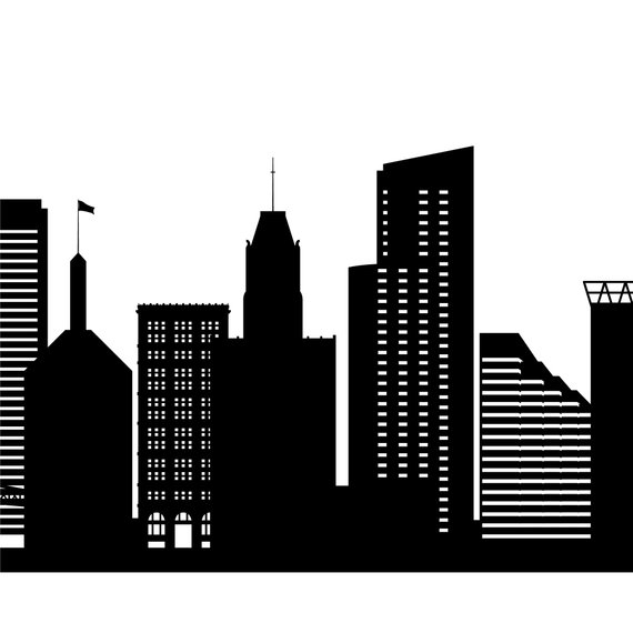 Baltimore skyline clipart svg royalty free library Baltimore Skyline Printable - Baltimore Maryland Black White Wall ... svg royalty free library