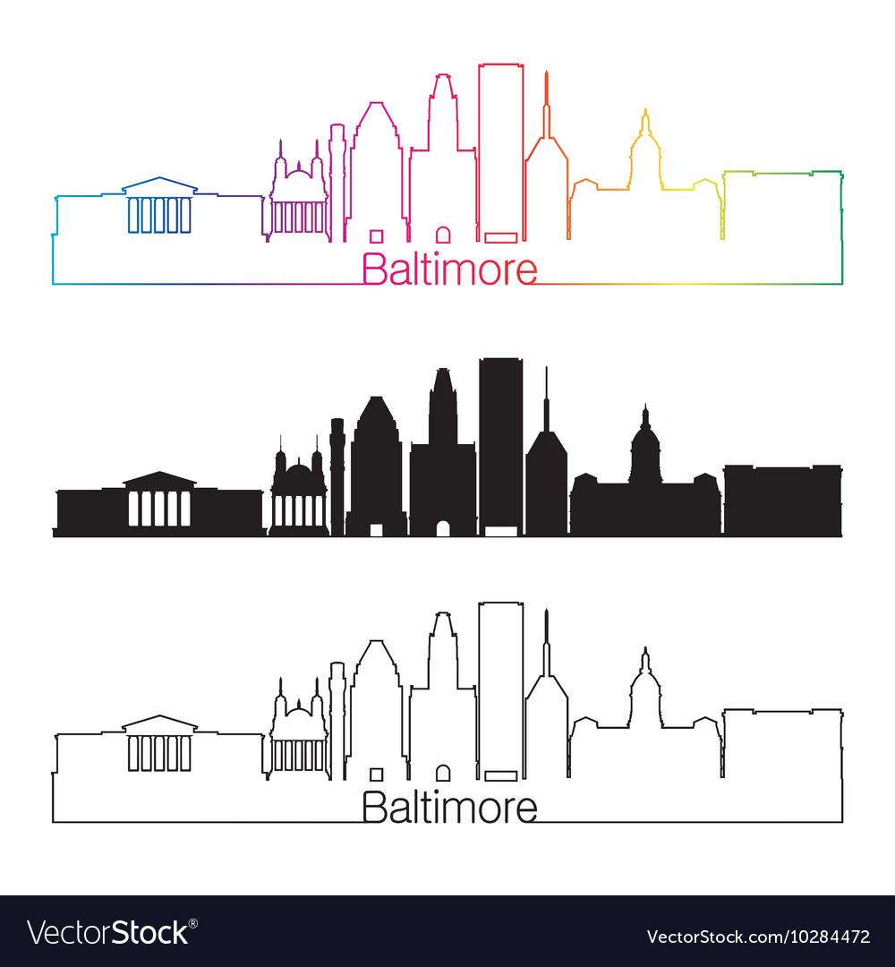 Baltimore skyline clipart graphic library library Baltimore skyline linear style with rainbow vector image graphic library library