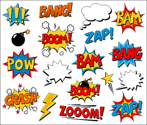 Bam comic clipart vector royalty free download Superhero Clipart Comic Book Clip Art Comic Text Speech Bubbles ... vector royalty free download