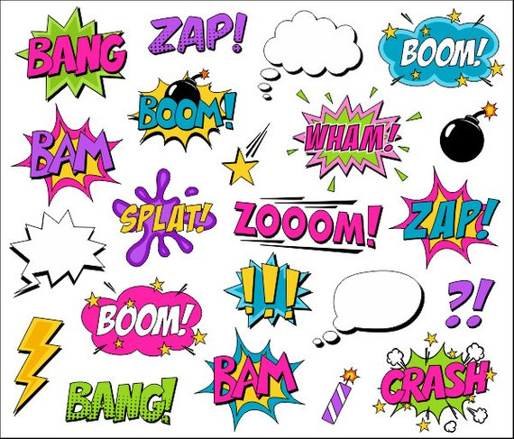 Bam comic clipart vector black and white Superhero Girl Clipart Comic Book Clip Art Comic Text Speech Bubbles ... vector black and white