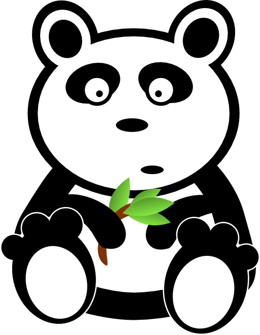 Bamboo clipart money black and white library Panda With Bamboo Leaves Clipart | i2Clipart - Royalty Free Public ... black and white library