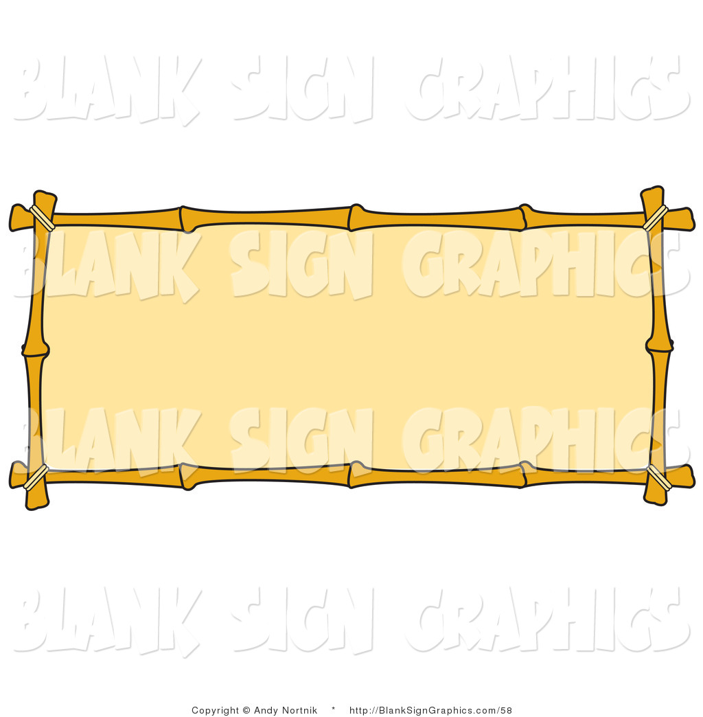 Bamboo sign clipart jpg freeuse download Vector Illustration of a Blank Banner with a Bamboo Border by Andy ... jpg freeuse download