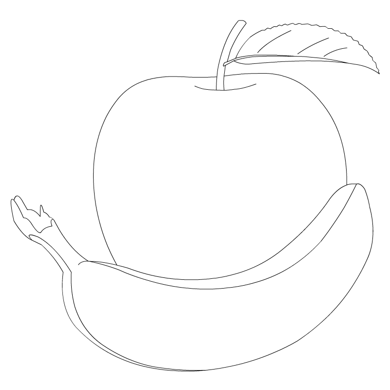Apple ina bowl clipart black and white banner free library Free Banana Outline Cliparts, Download Free Clip Art, Free Clip Art ... banner free library