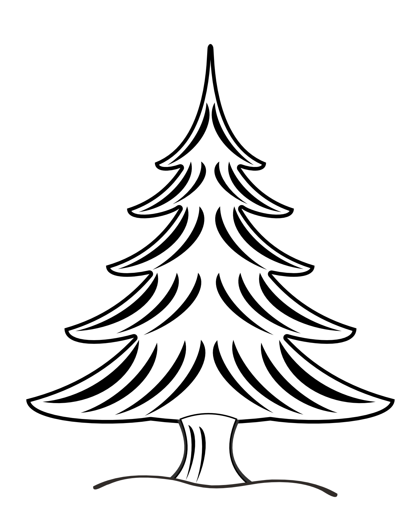 Fancy christmas tree clipart png library Tree Clipart Black And White | Clipart Panda - Free Clipart Images png library