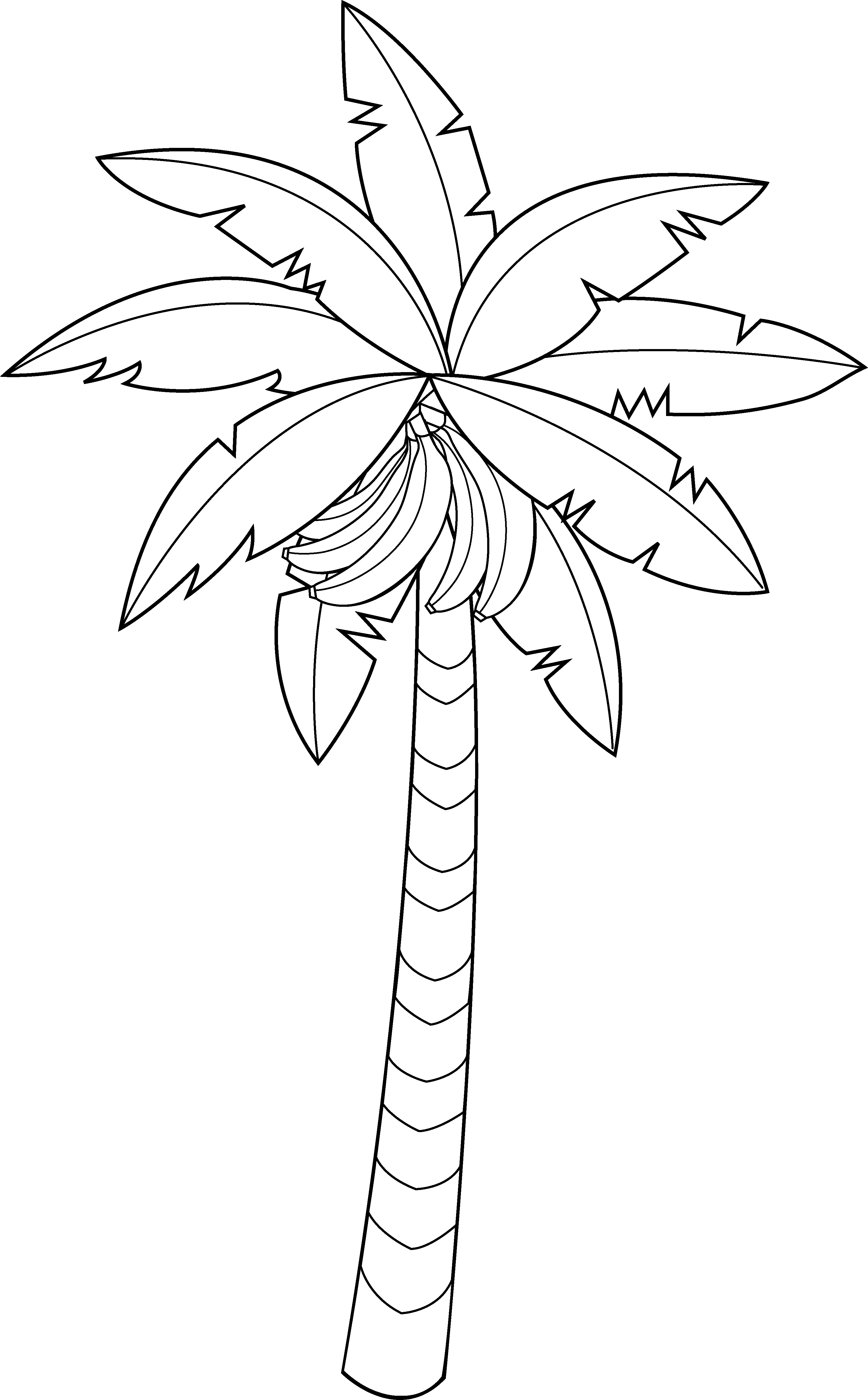 Banana tree clipart black and white svg transparent download Banana Tree Line Art - Free Clip Art svg transparent download