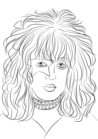 Band kiss hair clipart black and white jpg black and white Paul Stanley from Kiss Rock Band coloring page | Free Printable ... jpg black and white
