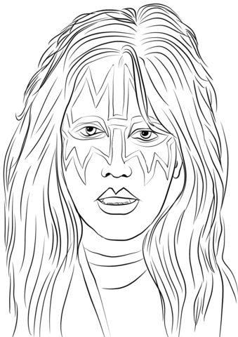 Band kiss hair clipart black and white banner freeuse download Ace Frehley from Kiss Band coloring page | Free Printable Coloring Pages banner freeuse download