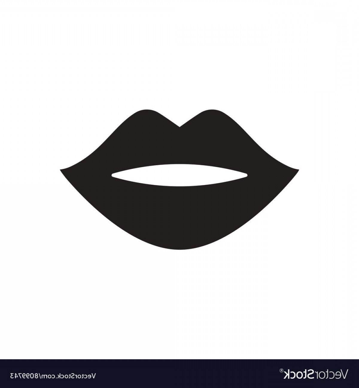 Clipart picture of lips in black and white