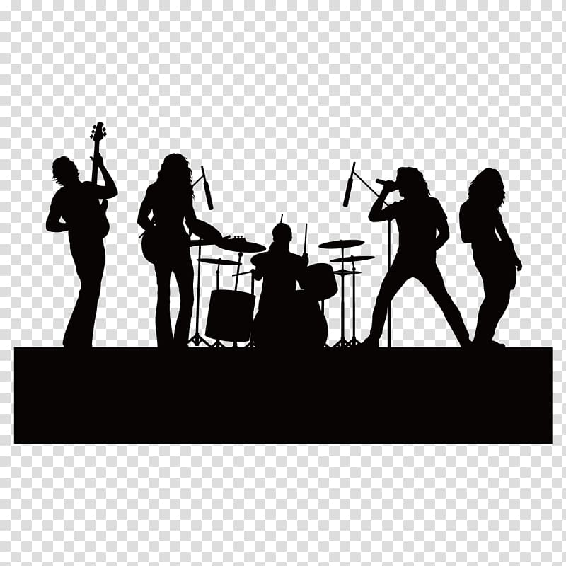 Band silhouette clipart banner stock Group of band illustration, Silhouette Singing Music, silhouette ... banner stock