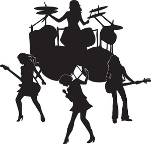 Band silhouette clipart clip art black and white download All Girl Rock Band Silhouette | Weather Clipart clip art black and white download