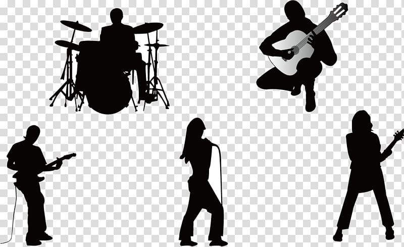 Band silhouette clipart clipart black and white download Five silhouette of people illustration, Musical ensemble Silhouette ... clipart black and white download
