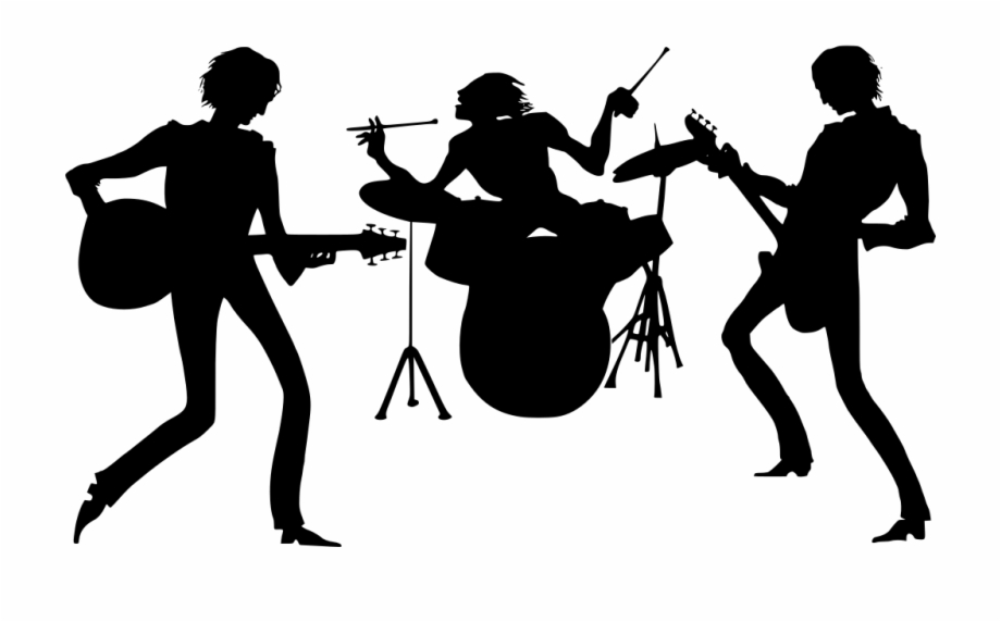 Free clipart silhouette of a music band