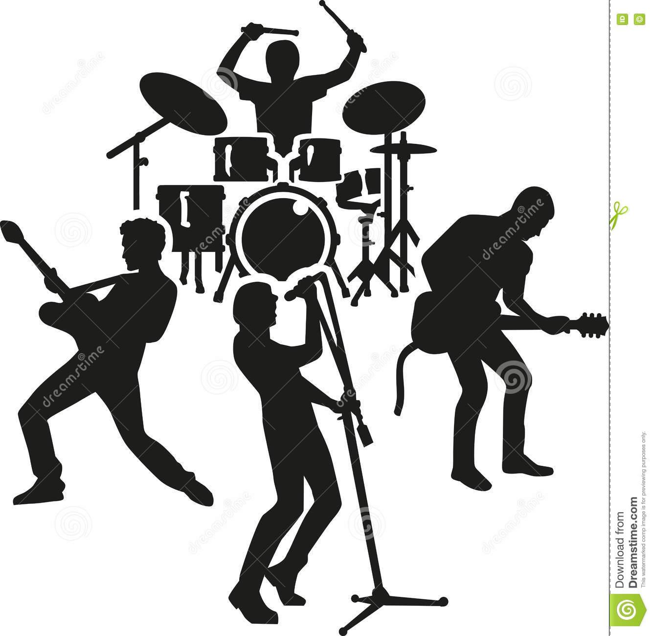 Banda de rock clipart clip transparent download Rock Band Silhouette Stock Vector Image: 73874654 - Free Clipart clip transparent download