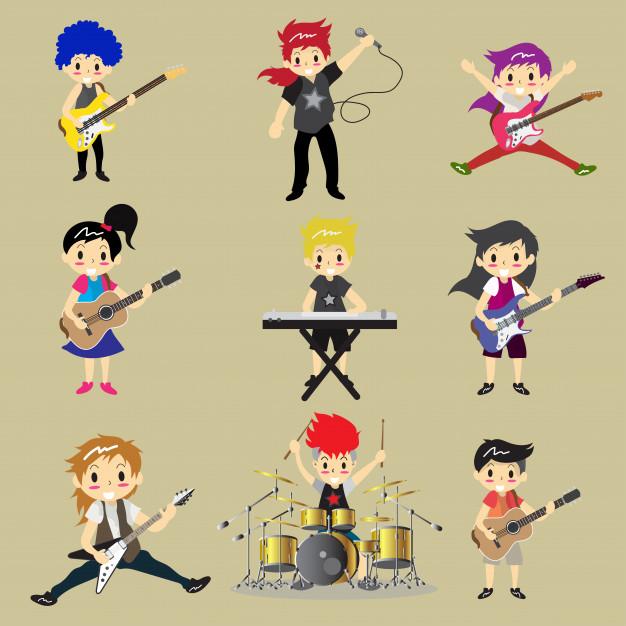 Banda de rock clipart picture transparent stock Musicians and musical instruments rock band Vector | Premium Download picture transparent stock