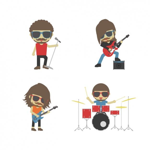 Banda de rock clipart picture free stock Banda de rock tocando instrumentos | Descargar Vectores gratis picture free stock